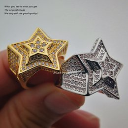 Wholesale Engagement Rings Mens 18k - High Quality 18k Gold Plated Star Micro Pave Cubic Zircon Pentagram CZ Ring Gold Silver Women Mens Hip Hop Jewelry
