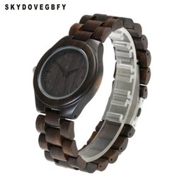 Reloj de madera negro para hombre online-SKYDOVEGBFY Wood Watches Black Minimalist Watch Hombre Black Mens Watches Wooden Bamboo Leather Band