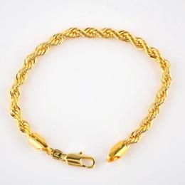 Pulseras de eventos online-Pulsera de cuerda rellena de oro macizo amarillo real de 24 K 5 mm, 21.5 cm / 8.4 pulgada de largo, evento de venta de hombres / mujeres