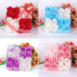 Wholesale Body Scent - 16Pcs Soap Flower Heart Scented Bath Body Petal Rose Flower Soap Wedding Decoration Gift Best 13.5*13.5*4.2cm Dropshipping #1112