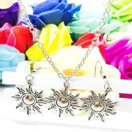 sun face pendant Promo Codes - 2018 New Hot Sell Popular Antique Silver Sun Charm Pendant Necklace Earring Set Fashion Creative Women Jewelry Accessories Holiday Gift