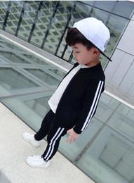 Wholesale Toddler Pink Jacket - Fashion Brand Boys Formal Clothing Boy Clothes Zipper Jacket Pants 2pcs sets Stripe Suit Toddler Suit Children Boy Tracksuits