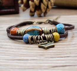 Wholesale porcelain rings - Ceramic Bracelet Wave Retro Chinese Style Hand-woven National Style Flower Glaze Crown Copper Ring Bracelet Porcelain Bead DIY Jewelry