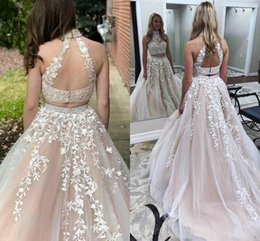 Wholesale Little Girl Art - Gorgeous Appliqued Lace Tulle Prom Dresses High Neck Ivory Champagne Backless 2018 sweet girl 16 Two Piece evening homecoming Dresses