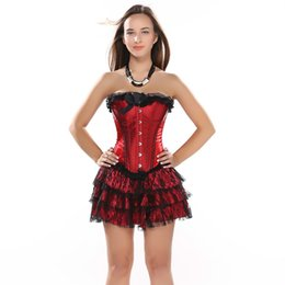 8c5a55cdc66a1 Red Boned Lace Up Back Corsets Underwire Lace Overlay Bustier Top With tutu  skirts Women Corset Dress Skirt