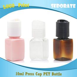 Пластиковые прозрачные квадратные бутылки онлайн-Sedorate 100 pcs/Lot 10ML Empty Plastic Square Bottle With Press Lid PET Clear Brown Travel Refillable Bottle Containers JXW022