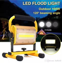 Wholesale Dimmable Led Floodlights - Dimmable 100W Portable LED Floodlight Cordless Work Light Rechargeable COB LED Flood Light Spot Outdoor Working Camping Lamp Floodlights