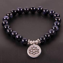 NCRHGL Blu / Oro Dinas Braccialetto di pietra naturale LOTUS / BUDDHA / OHM Braccialetti di fascino 8mm Beads Yoga Bracciali Gioielli per le donne Uomini supplier ohm charms da ohm fornitori