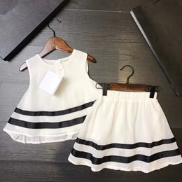 Wholesale Cute Chiffon Dresses - 2018 HOT Summer grils set Clothes A lovely Fashion Kids Chiffon set T shirt+white dress