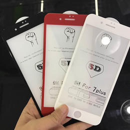 Wholesale Iphone Protect Film - 5D 9H Curved Edge Full Cover Tempered Glass For iphone 6 6S 7 7Plus Screen Protector 5D Glass For iPhone 8 8 Plus X Protect Film