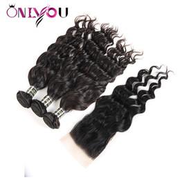 Wholesale nature weave - 9a Peruvian Hair Bundles with Closure Water Wave Human Hair Bundles with Frontal Ear to Ear Unprocessed Nature Wave Weaves Bundles Wolesale
