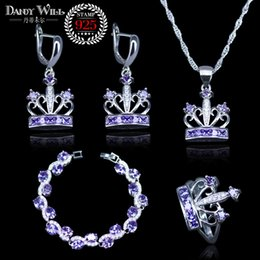Canada 925 bijoux en argent Sterling bijoux de mariée pourpre Zircon ensembles de bijoux pour les femmes Boucles d'oreilles / pendentif / collier / bagues / Nice Bracelet cheap purple zircon ring Offre