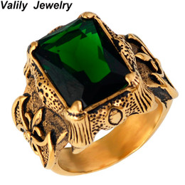 gothic crosses 2018 - Men's Gold Color Vintage Gothic Dragon Claw Biker ring Band green CZ Crystal ,stainless steel fashion cross finger ring jewelry