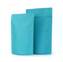 Fiadores de fidget azul on-line-50 pcs Levante-se Matt Azul Folha De Alumínio Ziplock Food Bag Azul Doypack Coffee Bag Pacote Saco Fidget Spinner Brinquedos Saco