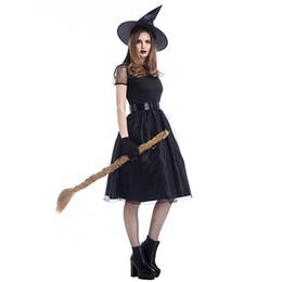 Хэллоуин 2018 новое черное платье для ведьм ведьма костюм темпераментный ведьма ночь дух игры одежда пятно от