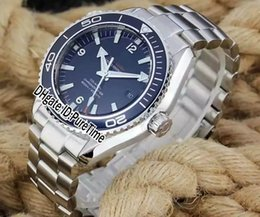 Wholesale planet ocean blue - New Best Edition BF 42mm Planet Ocean 232.90.46.21.03.001 Steel Case Blue Bezel Blue Dial Cal.8500 Automatic Mens Watch Steel Band om09