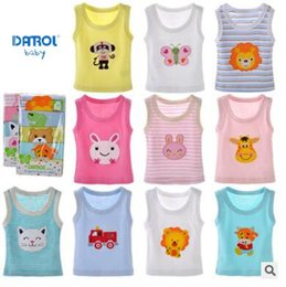 Wholesale Toddler Boys Sleeveless Vests - 5 Pack Baby Vest T-shirt 2018 Summer Clothes Tops 100% Cotton Animal Embroidery Applique Printing Infant Toddler Tops Vest Baby Clothes