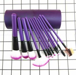 Wholesale wholesale professional makeup brush holder - Top quality 12pcs eyeshadow Makeup Brush Set+CylinderCup Holder Professional Cosmetic Brushes set free shipping