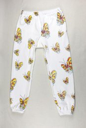 Wholesale Relaxing Butterflies - Male and female su sportstrousers butterfly leisure charge feet Wei pants white retro hip-hop disco Di essential Butterfly pants trousers c