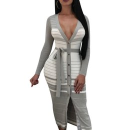 8cf830a2e55 Spring Striped Midi Dress Sexy Deep V Neck Long Sleeve Front Slit Gray  Bodycon Club Dress Women Casual Dresses S-2XL