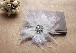 Atractivo Vintage blanco neto pluma perla jaula Velo Headpiece Head velo accesorios nupciales de la boda desde fabricantes