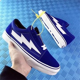 Wholesale Lover Black - lovers REVENGE x STORM Old Skool Shoes,Revenge of the storm! joint lightning KANYE unisex low cut red sneakers