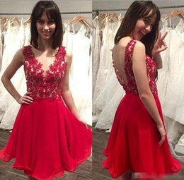 Wholesale Sweet Pink Chiffon Lace Jewel - 2017 New Red Crew Neck Backless Homecoming Dresses Sweet 16 Lace Bodice Beaded Cheap Chiffon Cocktail Dresses Short Prom Dresses
