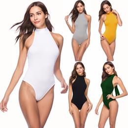 Wholesale Applique Leotards - Women Ladies Slim Bodysuit Halter Neck Black Leotard Top Slim Stretch Rompers Long Sleeve Bodycon Skinny Jumper
