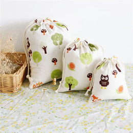 fabric toy storage Canada - Home storage bags Green trees print cotton linen fabric dust cloth bag Clothes socks underwear shoes bag Sundry kids toy storage bags