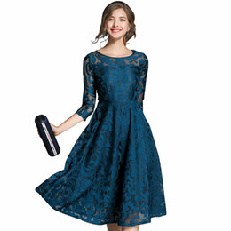 Wholesale Hollow Worked Gowns - Autumn Lace Dress Work Casual Slim Fashion O-neck Sexy Hollow Out Blue Red Dresses For Womens Woman Women Clothes A-line Vintage Vestidos