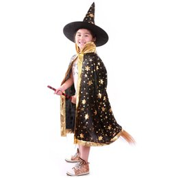 Wholesale Kids Wizard Costume - cap animal Boy Girl Kids Children Halloween Costums Witch Wizard Cloak Gown Robe and Hat Cap Stars Fancy Cosplay for Boys Girls