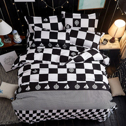 Wholesale White Red Bedding Set - Black and white checkered 3 4pc Bedding Sets High quality luxury soft comfortab duvet cover+Flat sheet+Pillowcases Home textile-Bed Linens
