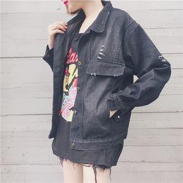 Wholesale Black Boyfriend Jacket - New Arrival Vintage Washed Denim Jacket Boyfriends Ripped Casaco Feminino Solid Color Bomber Jacket Casual Loose Chaqueta Mujer