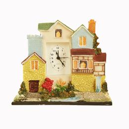 Résine Château Mute Horloge Figurines Accueil Bureau Décor Mansion Alarme Horloge De Table Lit Chambre Alarme Artisanat De Noël Cadeau ? partir de fabricateur