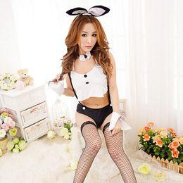 malla uniforme Rebajas Mujeres calientes lencería sexy Crochet Mesh Hollow Out Baby Doll Bunny Girl Disfraces conejo Cosplay lencería sexy traje uniforme