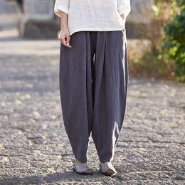 2018 pantalon de lin occasionnel Élastique Taille Linge Plus La Taille  Femmes Long Harem Pantalon Bloomers ef00ca5947c8