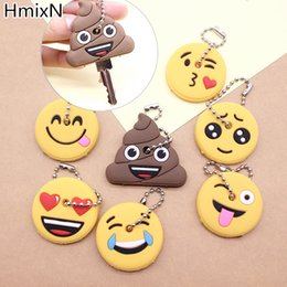 Wholesale Cute Cross Ring - New cute key cover Emoji smile Stool Amusing cartoon Keychain Jewelry Head yellow face Silicone Key chain ring holder porte clef