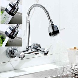 Wholesale Pipe Wall Mount - Hot Sale 360 Degree Pipe Swivel Pull Down Kitchen Mixer Tap Kitchen Sink Faucet Wall Mount Mayitr Faucets