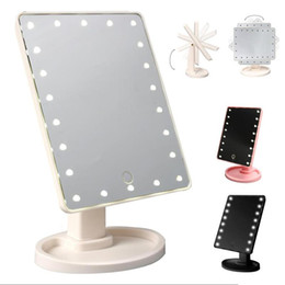 Wholesale Make Up Pocket - Make Up LED Mirror 360 Degree Rotation Touch Screen Make Up Cosmetic Folding Portable Compact Pocket With 22 LED Light Makeup Mirror