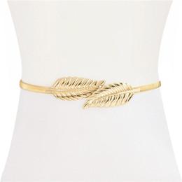 Wholesale elastic chain belt - The lady alloy elasticated elastic thin waist chain tree leaf to buckle the women belt.