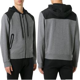 Wholesale Hood Men S Hoodies Cardigan - Men Black Gray Contrast Color Hooded Sweatshirt 2018 New Design Popular Hood Hoodie Pullover Sweat Top