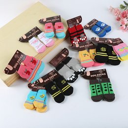 Wholesale Dog Clothes Shoes - Hot pet dog cat warm socks for winter Cute Puppy Dogs Soft Cotton Anti-slip Knit Weave Sock Skid Bottom Dog cat Socks Clothes