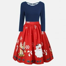 Wholesale Empire Tunic Size Xl - Size S-5XL Christmas Dresses Vestidos Long Sleeves Elegant Midi Winter Dress Tunic Femme Party A Line Robe Clothing WS4735Y