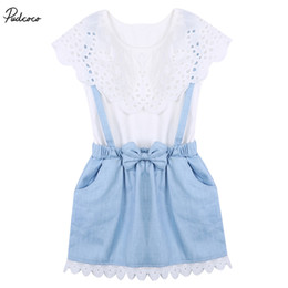 Wholesale Baby Boy Tie T Shirt - 2017 New Summer Baby Kids Girls Lace Ruffle Short Sleeve T shirt Overall Skirt Set Bow Tie Princess Party Denim Lace Fancy