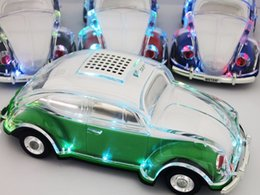 Wholesale Vw Flash - Crystal Car Wireless Speaker VW Beetle Shaped Auto Taxi Sound box with LED flashing lights MP3+Udisk+TF+FM radio+bluetooth Car Bus subwoofer