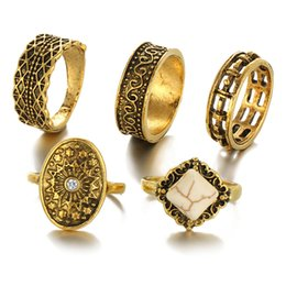 Wholesale Gold Knuckle Ring Set - Wholesales 5pcs set Retro Carved Knuckle Ring Midi Finger Tip Rings Women Engagemen Rings Luxury Jewelry Mens Wedding Rings Bague