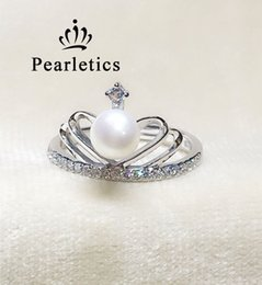 Wholesale Platinum Pearl Rings - cubic zircon solid sterling silver ring setting, crown ring mounting, ring blank wihtout pearl,jewelry DIY, gift DIY