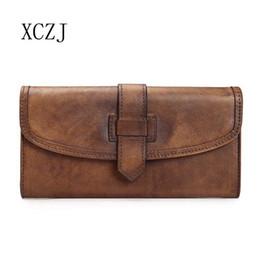 Bolsos de cuero tan suave online-Bolso XCZJ de curtido vegetal hecho a mano, billetera larga con billetera, bata de cuero Baotou, cartera de ocio, bolso de mano.