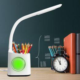 2019 pluma dc Lámpara de mesa de escritorio ajustable del calendario de la pluma de la temperatura del calendario del LED Luz de lectura del dimmer del tacto del USB Bluetooth para el hogar de la oficina pluma dc baratos