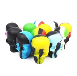 Precios de la cera online-precio de fábrica color rico Cráneo NonStick Silicone Container Wax Dab Silicone Jar